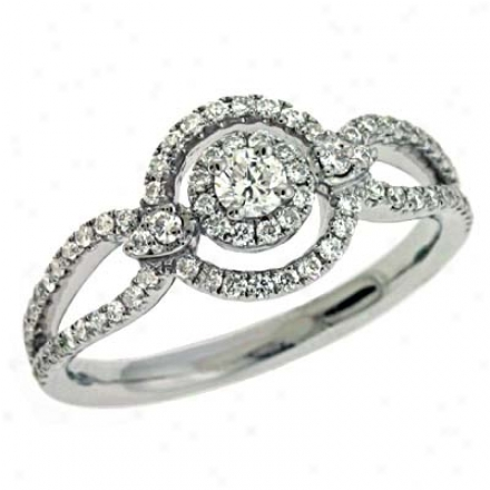 14k White Teendy 0.5 Ct Diamond Ring