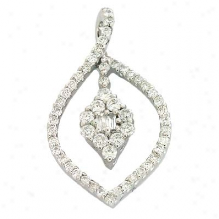 14k White Trendy 0.51 Ct Diamond Pendant
