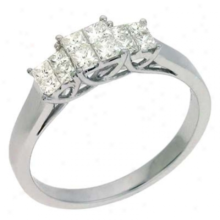 14k White Trendy 0.53 Ct Diamond Ring