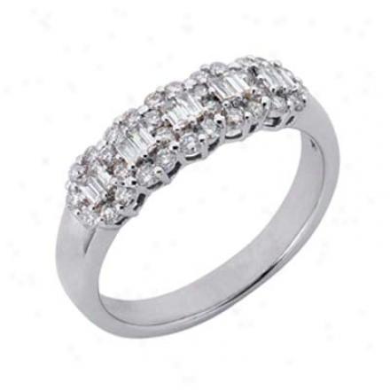 14k White Trendy 0.57 Ct Diamond Band Ring