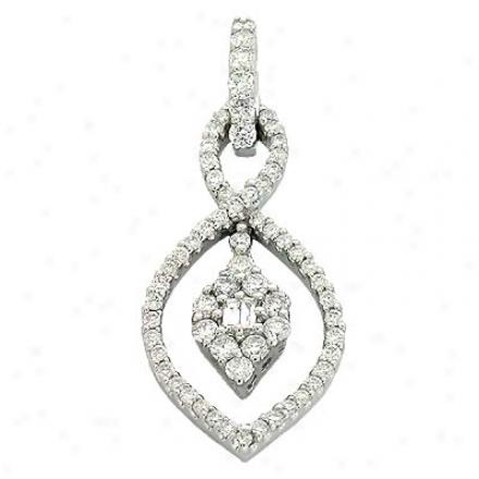 13k White Trendy 0.6 Ct Diamond Pendant