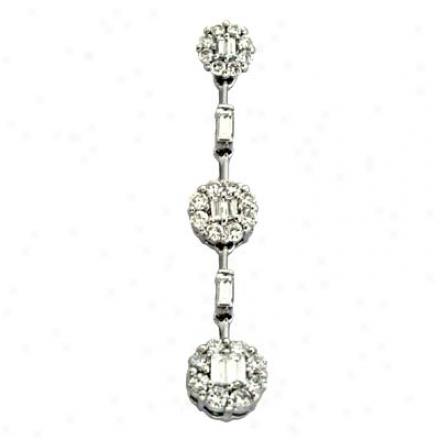 14k White Trendy 0.63 Ct Diamond Pendant