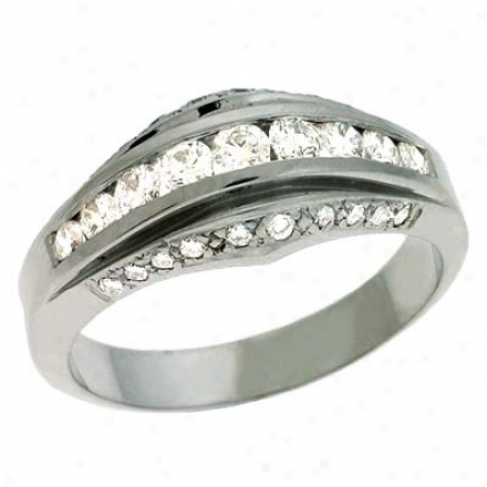 14k White Trendy 0.64 Ct Diamond Band Rnig