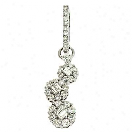 14k White Trendy 0.66 Ct Diamond Pendant