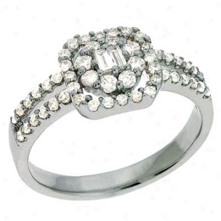 14k White Trendy 0.66 Ct Diamond Ring