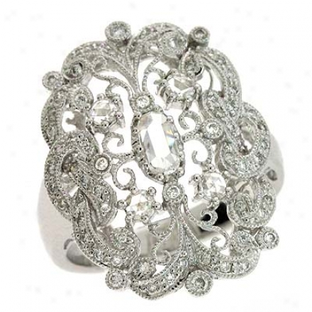 14k White Trendy 0.73 Ct Brilliant Ring