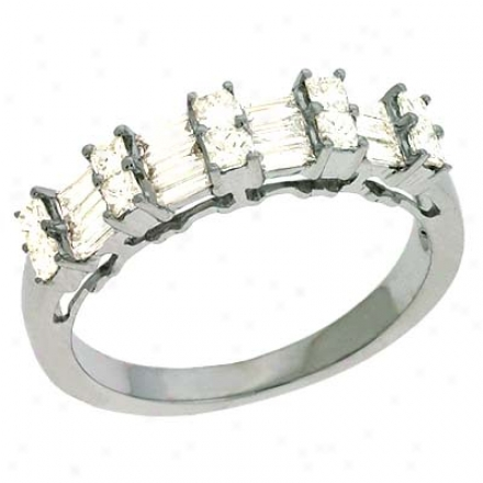 14k White Trendy 0.8 Ct Diamond Ring