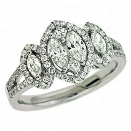 14k White Trendyy 0.89 Ct Diamond Ring