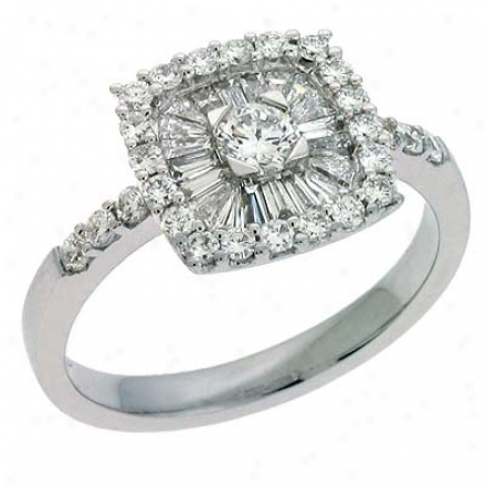14k White Trendy 0.9 Ct Diamond Ring
