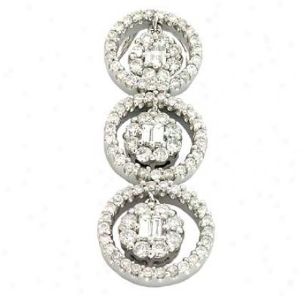 14k White Trendy 0.92 Ct Diamond Pendant