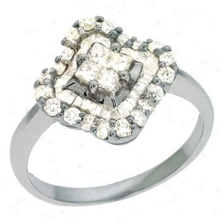 14k White Trendy 0.92 Ct Diamond Ring