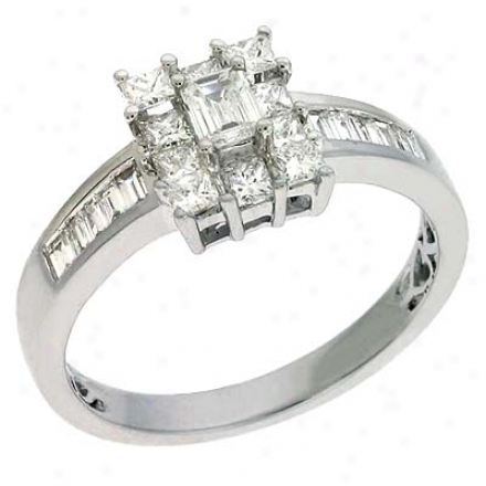 14k White Trendy 0.93 Ct Diamond Race-course