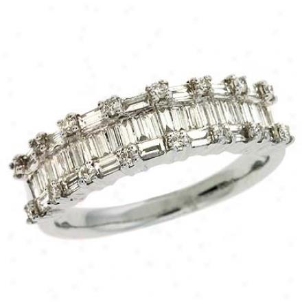 14k White Trendy 0.94 Ct Diamond Ring
