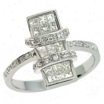 14k White Trendy 0.96 Ct Diamond Ring