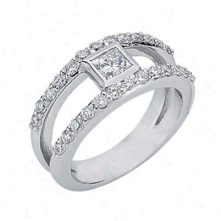 14k White Trendy 0.98 Ct Diamond Band Ring