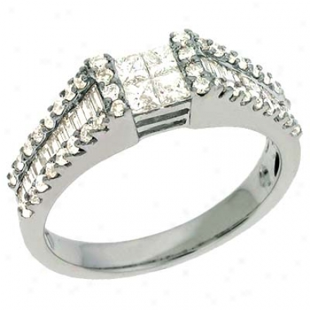 14k White Trendy 1 Ct Diamond Ring