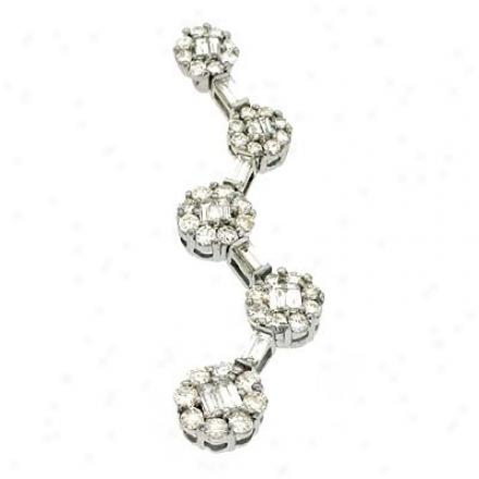 14k White Trendy 1.04 Ct Diamond Pendant