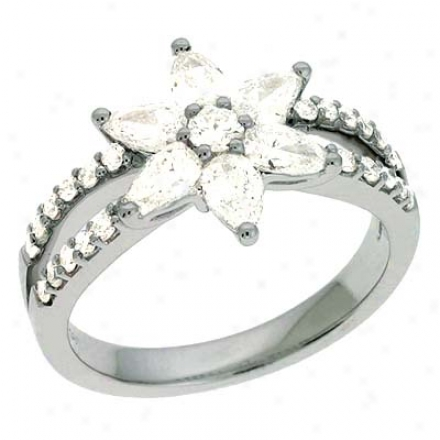 14k White Trendy 1.09 Ct Brilliant Ring