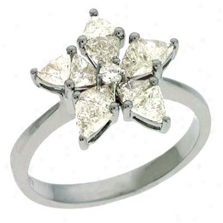 14k White Trendy 1.15 Ct Diamond Clique