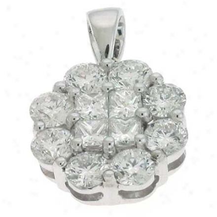 14k White Trendy 1.16 Ct Diamond Pendant