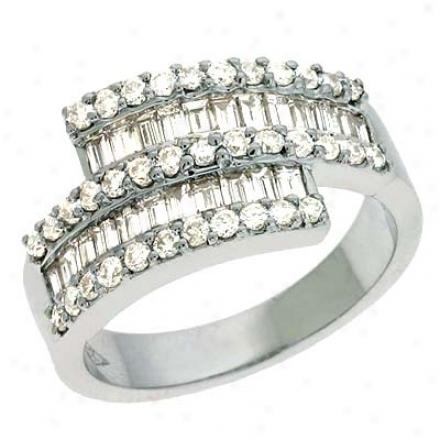 14k Whit3 Trendy 1.2 Ct Diamond Ring