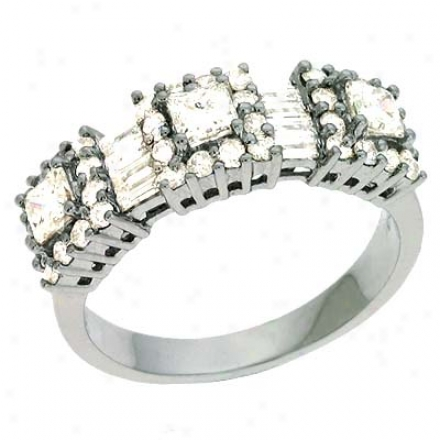 14k White Trendy 1 .25 Ct Diamond Ring