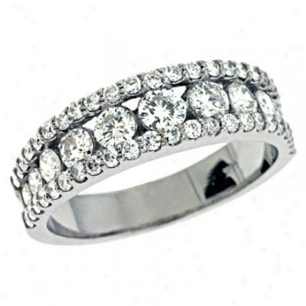 14k White Trendy 1.35 Ct Diamond Band Ring