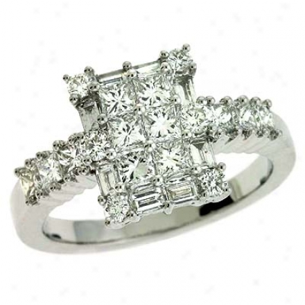 14k White Trendy 1.42 Ct Diamond Ring