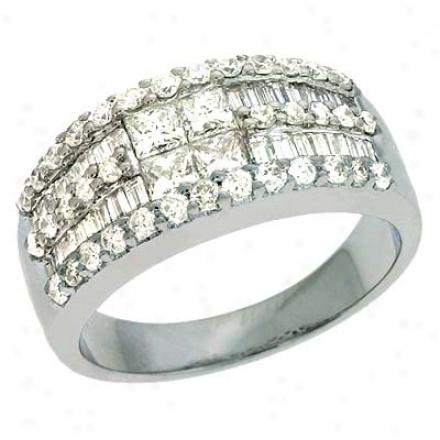 14k White Trendy 1.44 Ct Diamond Ring