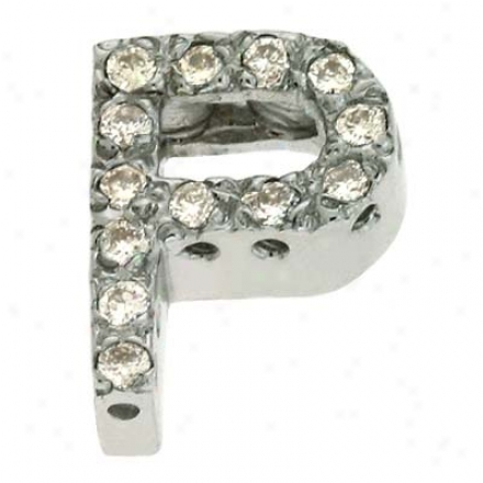 14k White Trendh 14w Gold Letter P Diamond Pendant