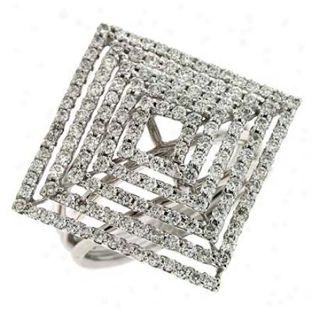 14k White Trendy 1.5 Ct Diamond Ring
