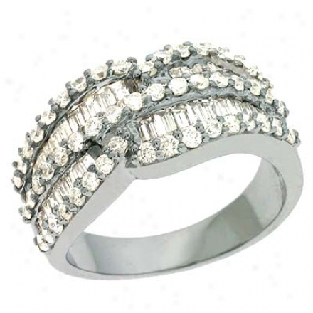 14k White Trendy 1.51 Ct Diamond Ring