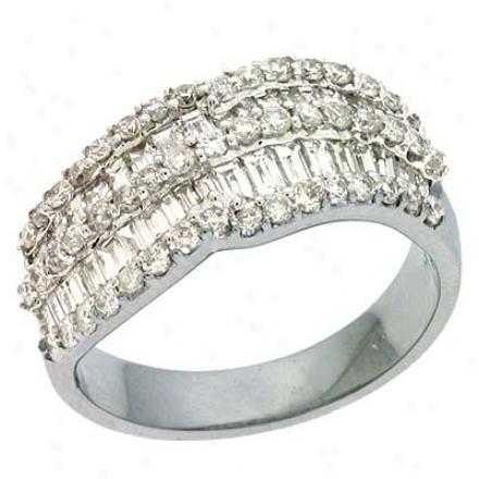 14k White Trendy 1.53 Ct Diamond Ring