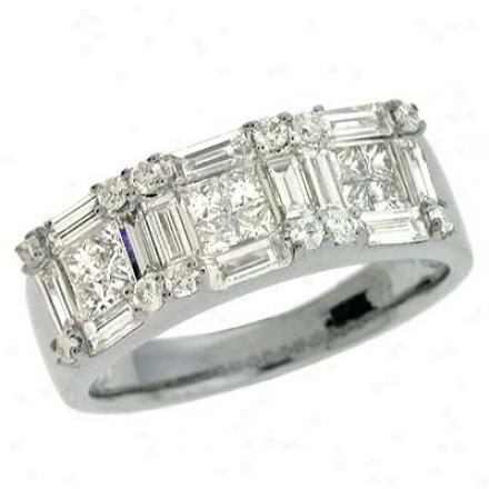 14k White Trendy 1.63 Ct Diamond Ring
