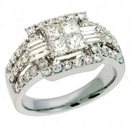 14k White Trendy 1.65 Ct Diamond Ring