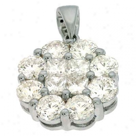 14k White Trendy 1.71 Ct Diamond Pendant