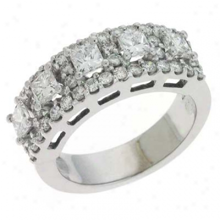 14k White Trendy 1.89 Ct Diamond Bandage Ring