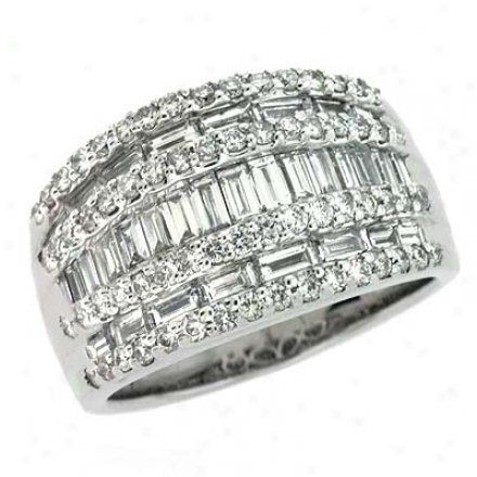 14k White Trendy 1.9 Ct Diamond Ring