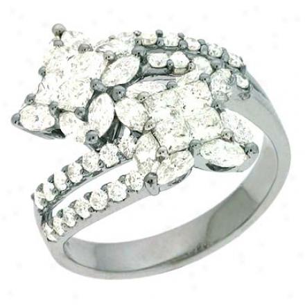 14k White Trendy 2.01 Ct Diamond Ring