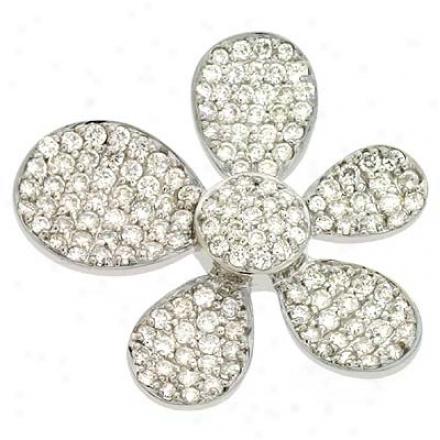 14k White Trendy 2.07 Ct Diamond Pendant