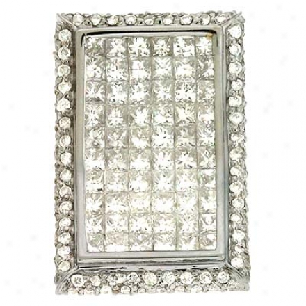 14k White Trendy 2.16 Ct Diamond Pendant