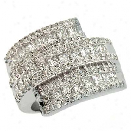 14k White Trendy 2.31 Ct Diamond Ring