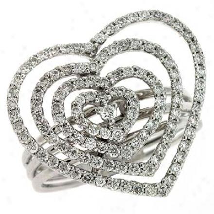 14k White Trendy Heart 0.91 Ct Diamond Ring