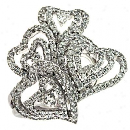 14k White Trendy Heart 1.98 Ct Diamond Ring