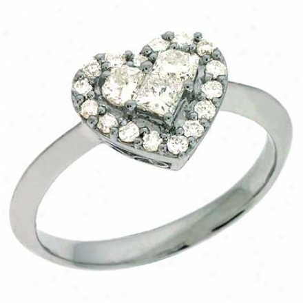 14k White Trendy Heart Shape 0.53 Ct Diamond Ring