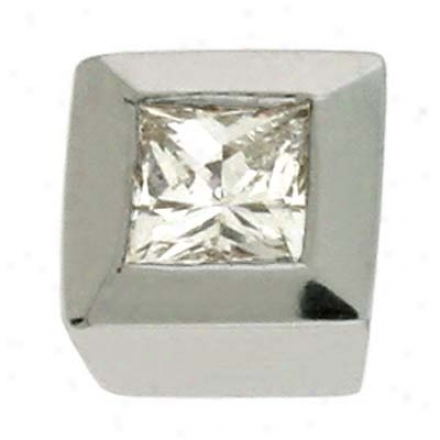 14k White Trendy Solitaire 0.16 Ct Diamond Ear-ring