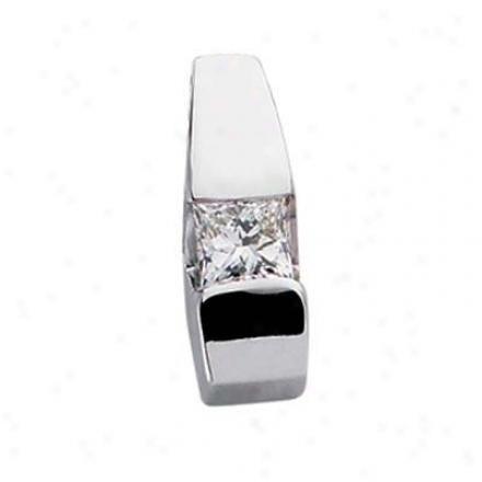 14k Pure Trendy Solitaire Princess Cut Diamond Pendant