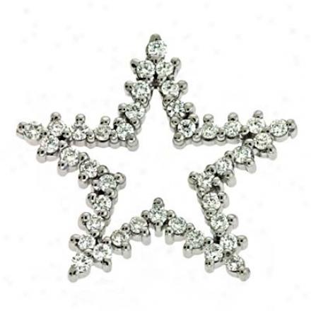 14k White Trendy Star Charm 0.76 Ct Diamond Pendant