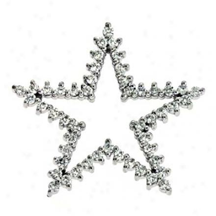 14k White Trendy Star Charm 0.95 Ct Damond Pendant