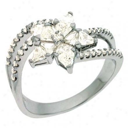 14k White Trendy Trillions And Rounds 1.03 Ct Diamond Ring